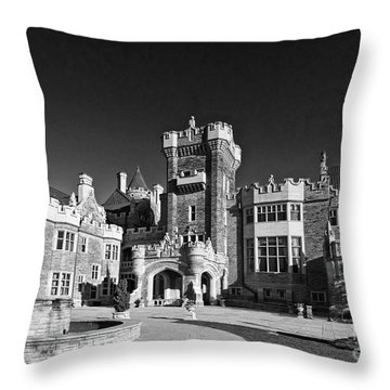 Casa Loma In Toronto In Black And White Throw Pillow