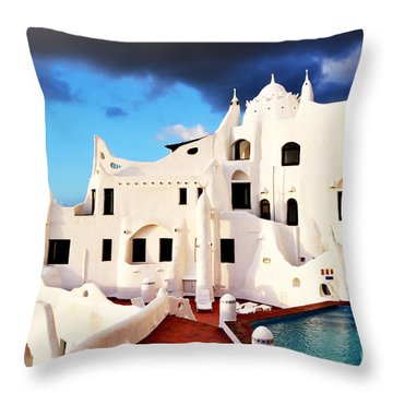 Casa Pueblo Al Mar Throw Pillow by Valerie Rosen