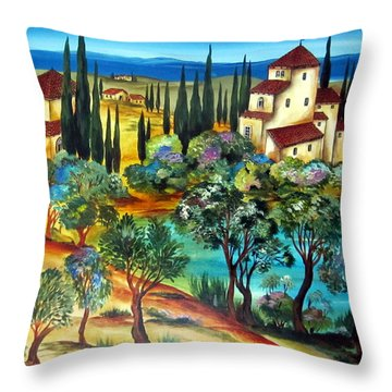Casali Toscani-tuscany Farmhouses Throw Pillow
