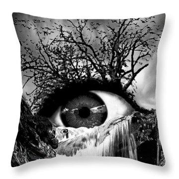 Cascade Crying Eye Grayscale Throw Pillow