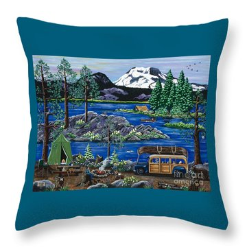 Cascade Lake Sparks Throw Pillow by Jennifer Lake
