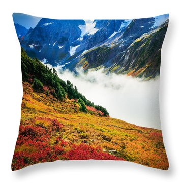Cascade Pass Peaks Throw Pillow by Inge Johnsson