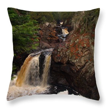 Cascade River Throw Pillow by James Peterson