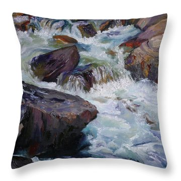 Cascades After Daniel Edmondson Throw Pillow
