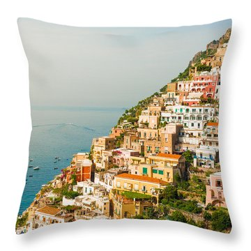 Cascades Of Positano City Throw Pillow