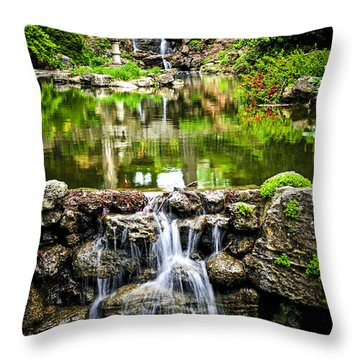Cascading Waterfall And Pond Throw Pillow by Elena Elisseeva