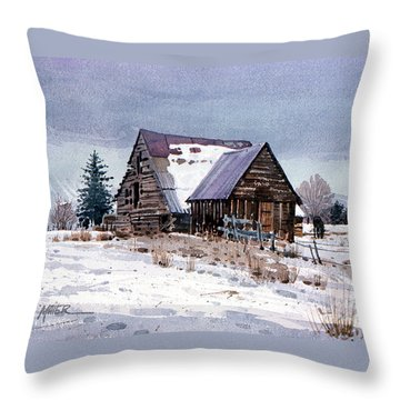 Throw Pillow featuring the painting Cache Valley Barn by Donald Maier