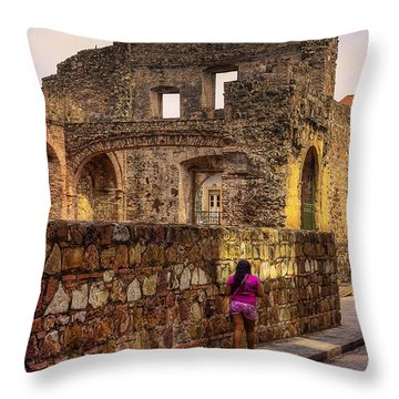 Casco Viejo Sunset Throw Pillow by Kandy Hurley