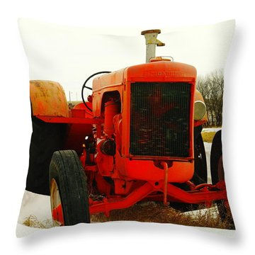 Case Tractor Throw Pillow by Jeff Swan