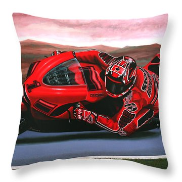 Casey Stoner On Ducati Throw Pillow