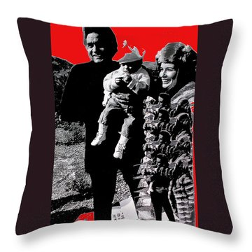 Throw Pillow featuring the photograph Cash Family In Red Old Tucson Arizona 1971-2008 by David Lee Guss
