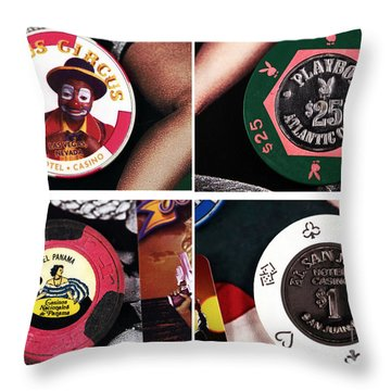 Casino Chips Collage Throw Pillow