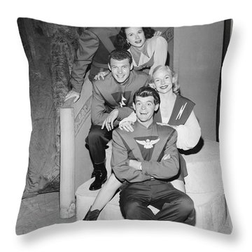 Cast Of Space Patrol Throw Pillow by Underwood Archives