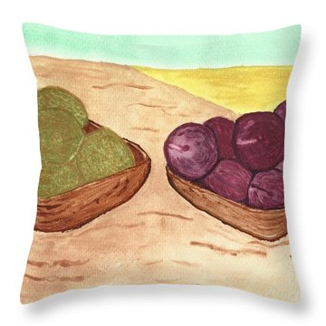 Throw Pillow featuring the painting Castaway Fruit by Tracey Williams