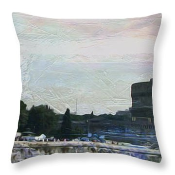 Throw Pillow featuring the painting Castel Sant'angelo     by Brian Reaves