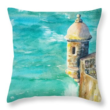 Castillo De San Cristobal Ocean Sentry  Throw Pillow