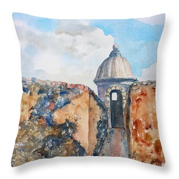 Castillo De San Cristobal Sentry Door Throw Pillow