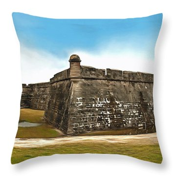 Castillo De San Marcos Throw Pillow by Marion Johnson