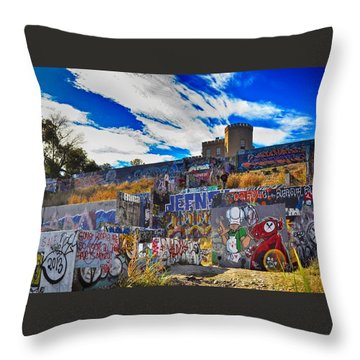 Austin Castle And Graffiti Hill Throw Pillow