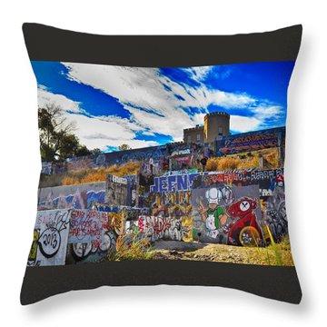 Castle Graffiti Art Throw Pillow