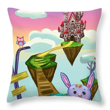Throw Pillow featuring the painting Castle by Bogdan Floridana Oana