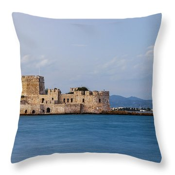 Castle Bourtzi And Buoy Throw Pillow