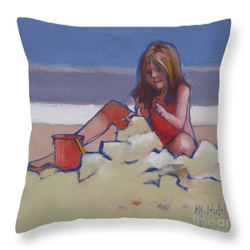 Castle Buiilding Sandcastles On The Beach Throw Pillow by Mary Hubley