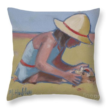 Castle Builder Beach Sand Castle Throw Pillow by Mary Hubley