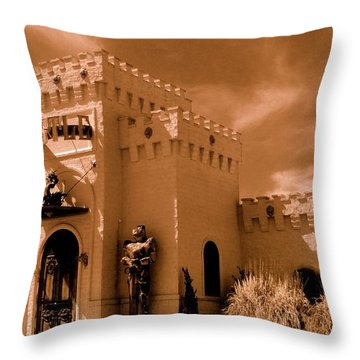 Throw Pillow featuring the photograph Castle By The Road by Rodney Lee Williams