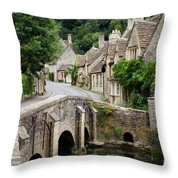 Castle Combe Cotswolds Village Throw Pillow