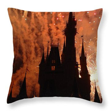 Throw Pillow featuring the photograph Castle Fire Show by David Nicholls