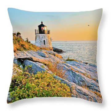 Castle Hill Lighthouse 1 Newport Throw Pillow