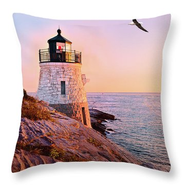 Throw Pillow featuring the photograph Castle Hill Lighthouse 2 Newport by Marianne Campolongo