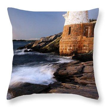 Castle Hill Lighthouse Dusk Throw Pillow by James Kirkikis