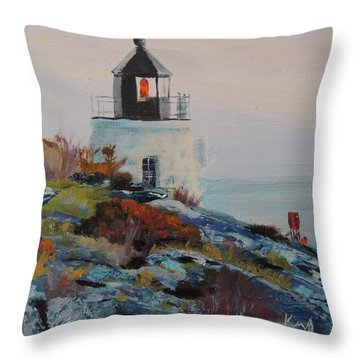 Castle Hill Lighthouse Newport Ri Throw Pillow by Patty Kay Hall