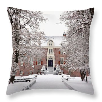 Throw Pillow featuring the photograph Castle In Winter Dress  by Annie Snel