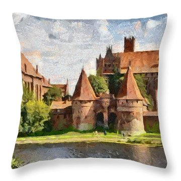 Castle Malbork Poland Throw Pillow