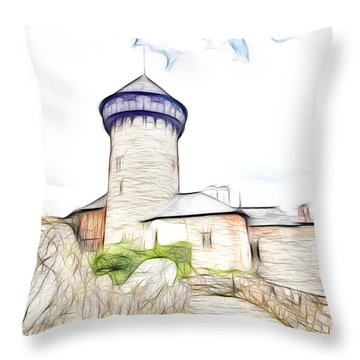 castle of the holy order - Sovinec castle Throw Pillow by Michal Boubin