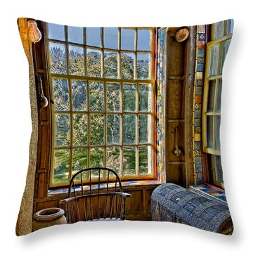 Castle Office Throw Pillow by Susan Candelario