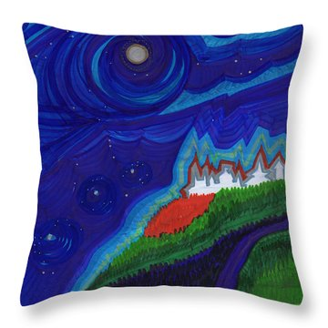 Castle On The Cliff By Jrr Throw Pillow by First Star Art