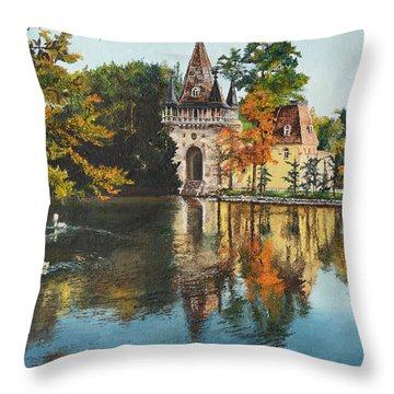 Throw Pillow featuring the painting Castle On The Water by Mary Ellen Anderson