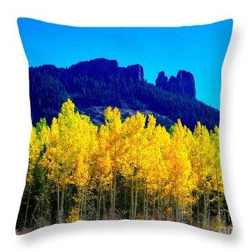 Autumn Castle Rock Aspens Throw Pillow