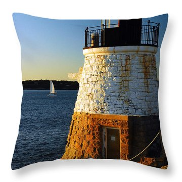 Castle Rock Lighthouse Throw Pillow by James Kirkikis
