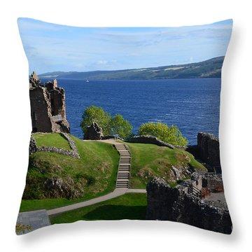 Castle Ruins On Loch Ness Throw Pillow by DejaVu Designs