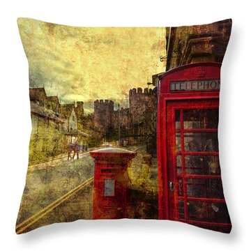 Castle Steet Conwy Throw Pillow by Mal Bray