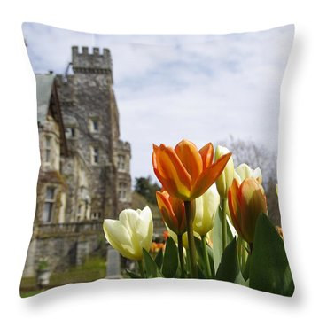 Castle Tulips Throw Pillow