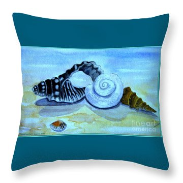 Throw Pillow featuring the painting Castles In The Sand by Leanne Seymour
