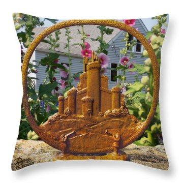 Throw Pillow featuring the pyrography Castles In The Sky by Doug Kreuger