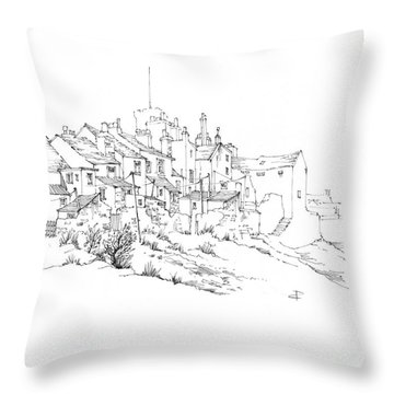 Castletown Coastal Houses Throw Pillow