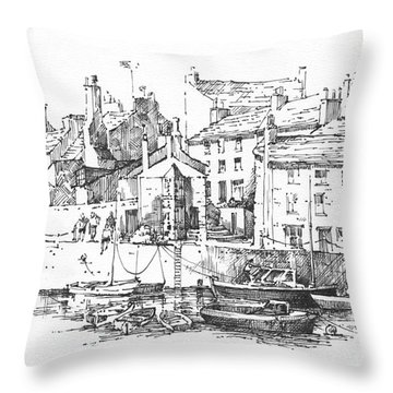 Throw Pillow featuring the drawing Castletown Harbour by Paul Davenport